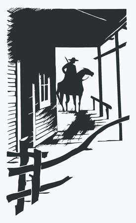 one object: Vector cartoon cowboy western one line one object Illustration
