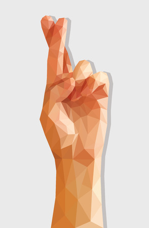 finger crossed: polygonal female hand crossed for good luck index and middle finger. Stock Photo