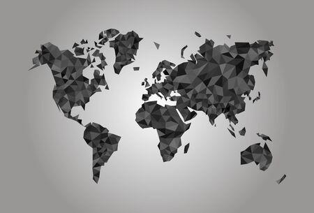 coal mining: World Map polygonal precision low-poly black coal mining Stock Photo