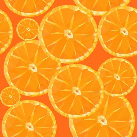 sliced fruit: low poly polygon sliced fruit orange seamless texture pattern