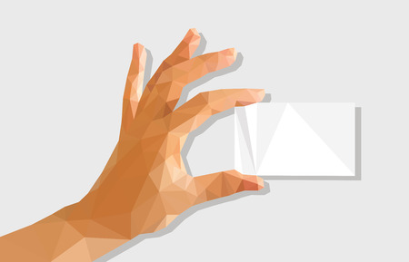 hand holding business card: low poly polygon left hand holding a business card.