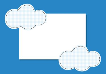 suture: Frame cloud patch suture thread on a blue background. Stock Photo