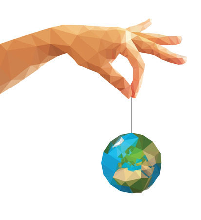 hand holding globe: low poly polygon left hand holding a globe with his thumb and index finger. Stock Photo