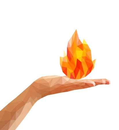 open flame: polygon fire flame flames natural and abstract on the open palm of your hand.