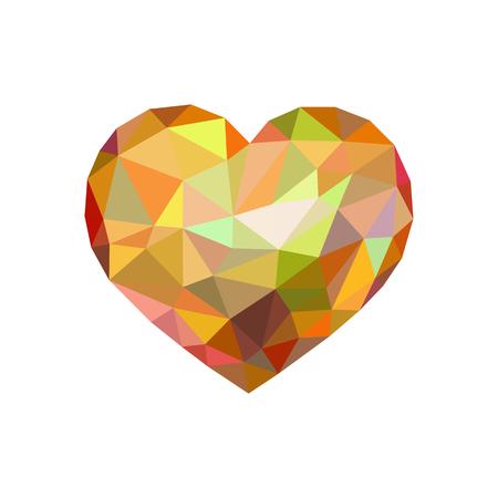 low poly heart like a diamond with an orange tint