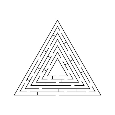 riddle: circular maze that is in the form of a triangle black on white