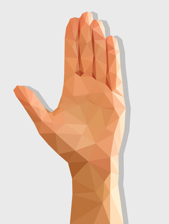 palm of hand: left female hand disclosed isolated low poly polygonal