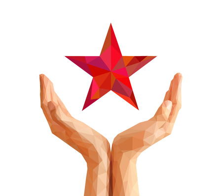 low poly polygon cupped hand keeps red star Zdjęcie Seryjne