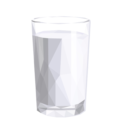 sour cream: low-poly polygonal glass full of milk sour cream yogurt Stock Photo