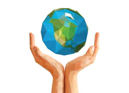 handen aan veelhoekige origami techniek houdt planeet Globe Noord-Amerika. Stockfoto