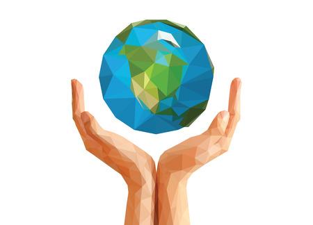 mundo manos: manos ahuecadas técnica del origami poligonal mantiene planeta Globo de América del Norte. Foto de archivo