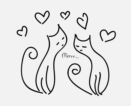 meow: two cats in love couple hearts fly purr.