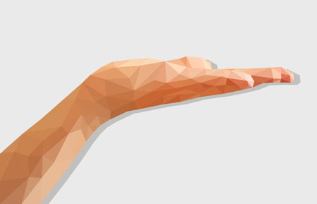 disclosed: polygonal left hand low poly disclosed flat palm empty.