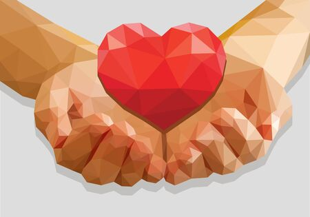 man begging: cupped hands keep red heart isolated low poly polygon on a gray background Stock Photo