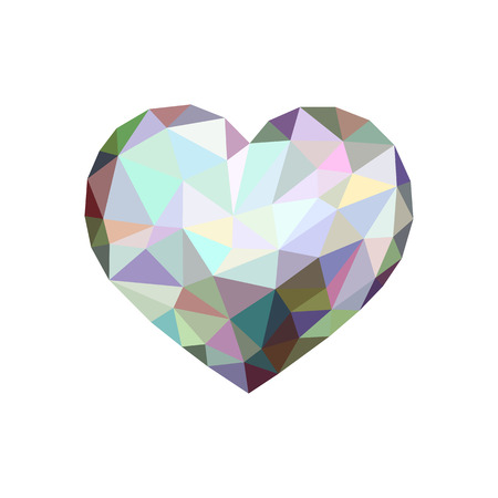 low poly heart shining like a diamond 免版税图像