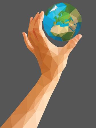 vertical orientation: low poly polygon left hand holding a globe cartoon vertical orientation.