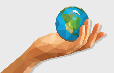 hand holding globe: polygonal low poly disclosed cupped left hand holding a globe isolated. Stock Photo