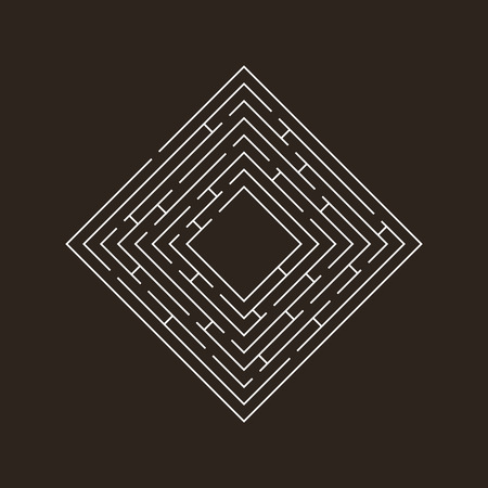 difficult to find: circular maze that is in the form of a square on the corner of white on black
