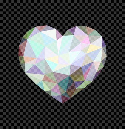 translucent: Transparent low poly heart like a diamond shining translucent