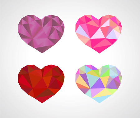 heart diamond: polygonal origami heart diamond set Stock Photo