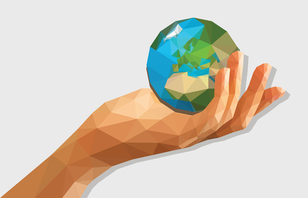 empty handed: polygonal low poly disclosed cupped left hand holding a globe isolated. Stock Photo