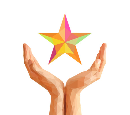 cupped: low poly polygon cupped hand keeps multi colored stars Stock Photo