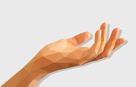 low poly polygon left hand cupped disclosed isolated blank.