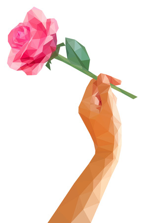tilted: low poly polygon rose isolated in hand tilted