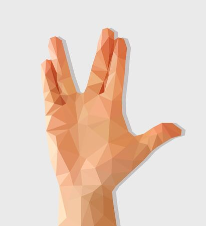 polygon hand raised with palm forward divorced middle and ring finger and thumb extended.