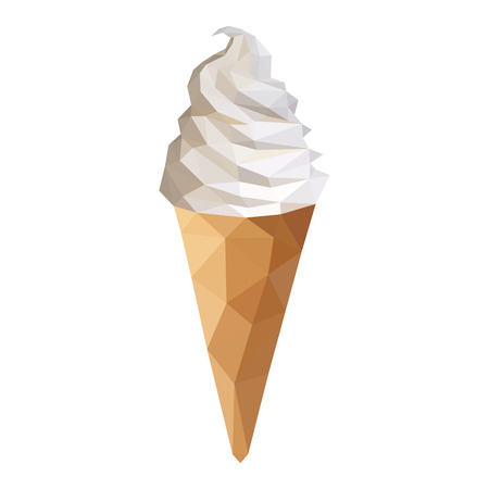 low-poly polygon ice cream cone