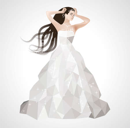 fiancee: Low poly wedding dress glittering with sequins beautiful bride with long hair Stock Photo