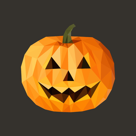 smilling: low poly polygon pumpkin for Halloween on a gray background
