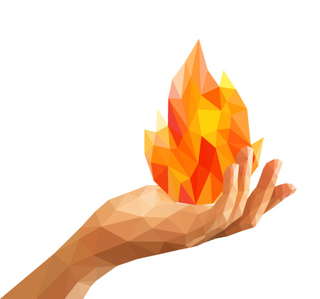 polygon fire flame flames natural and abstract in his hand Prometheus. Archivio Fotografico