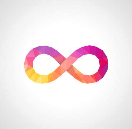 infinity sign: low-poly sign of infinity full color on a white background