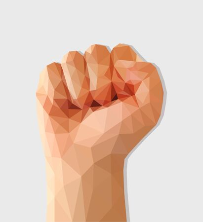 revolt: polygon fist raised up a protest force.