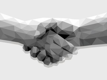 Dos manos apretón de manos poligonal bajo contrato poli acuerdo monocromo sobre un fondo claro.