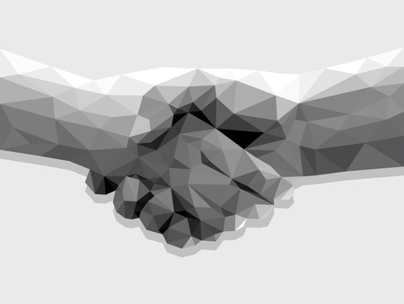 business success: two hands handshake polygonal low poly contract agreement monochrome on a light background.