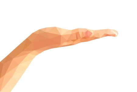 manos abiertas: aislado vacío bajo poli diestra mano abierta