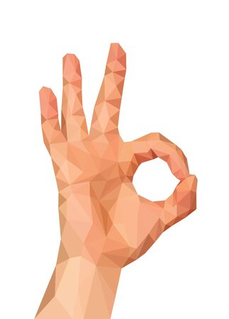 polygonal hand shows gesture ok