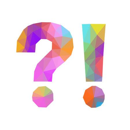 signo de interrogación: bajo el signo de exclamación pregunta poli aislada poligonal Foto de archivo
