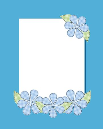 suture: Frame cloud flower patch suture thread on a blue background Vertical.