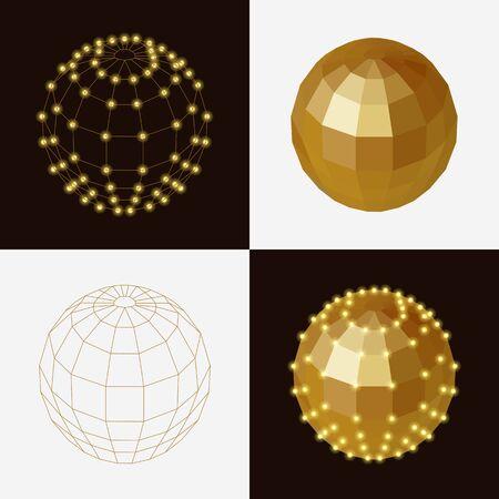 golden ball: set of golden ball polygonal transparent skeleton nodes.