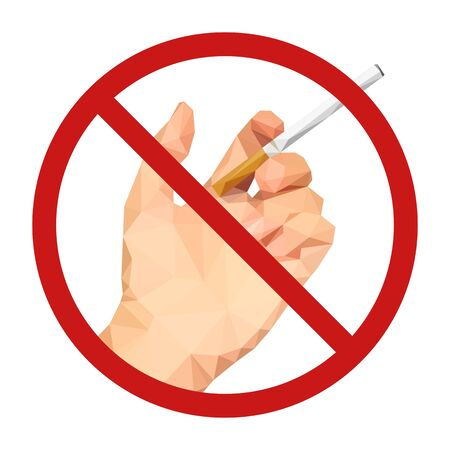 pernicious habit: non-smoking sign polygonal hand with a cigarette Stock Photo