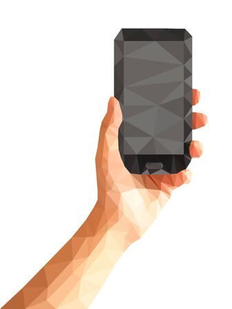 hand held computer: polygonal technique hand holding phone with gray screen. Stock Photo