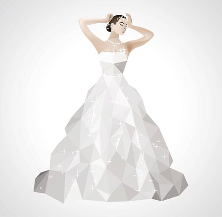 short dress: Low poly wedding dress glittering with sequins beautiful bride with short hair