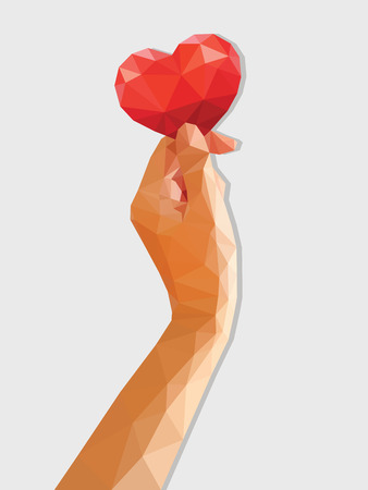 vertical orientation: low poly polygon hand holding red heart vertical orientation.