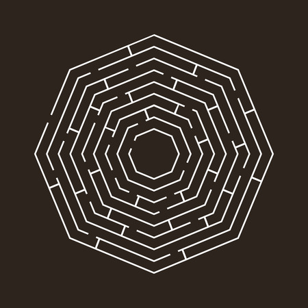 leading the way: circular maze an octagon white on black