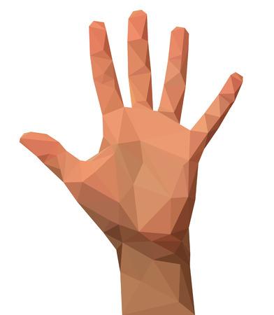 vijf vingers de hand open hand veelhoekige laag poly leeg