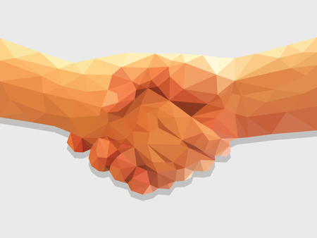 dos manos del apretón de manos poligonal todo color bajo acuerdo de contrato poli. Foto de archivo