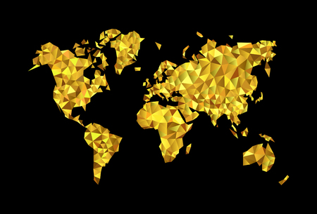 goldmine: world map the low poly high-precision polygonal gold on a black background